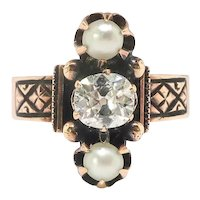 Victorian Diamond Pearl Ring Antique Circa 1880's .58ct t.w. Old Cushion Mine Cut Diamond Navette Pearl Three Stone Ring 14k Rose Gold