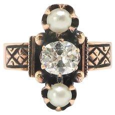 Victorian Diamond Pearl Ring Antique Circa 1880's .58ct t.w. Old Cushion Mine Cut Diamond Navette Pearl Three Stone Ring 14k Rose Gold
