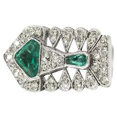 Exotic Estate Emerald and Diamond Abstract Fish Cocktail Statement Ring Platinum