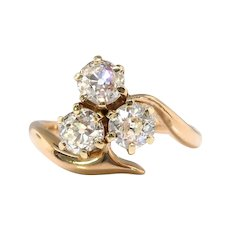 Antique Russian Diamond Clover Ring 1890's 1.20ct t.w. Old European Cut Diamond Vintage Three Stone Bypass Ring 14k Gold