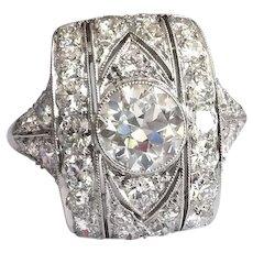 Vintage Diamond Engagement Ring Art Deco 1930's 2.50ct. t.w. Old European Cut Anniversary Statement Cocktail Dinner Ring Platinum