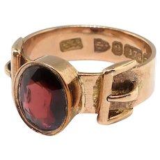 Antique Garnet Buckle Ring Victorian Art Nouveau 1899 Oval 1.76ct Garnet Buckle Motif Vintage Stacking Pinky Unisex Ring 9K Rose Yellow Gold