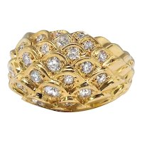 Estate Diamond Dome Ring Judith Leiber Statement Cocktail Designer Ring 18k Yellow Gold