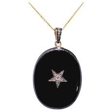 "Antique Onyx Diamond Mourning Locket Vintage 1880's Star Set Old Mine Rose Cut Black Statement Mourning Pendant Necklace 24"" Chain 14K Gold"