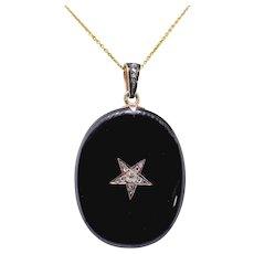 "Antique Onyx Diamond Mourning Locket Vintage 1880's Star Set Old Mine Rose Cut Black Statement Mourning Pendant Necklace 24"" Chain 14K Gold"