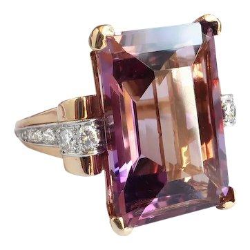 Large Vintage Purple Amethyst and Diamond Cocktail Statement February Birthstone Ring 14K