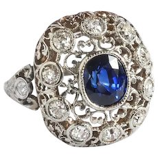 Art Deco Blue Sapphire and Diamond Filigree Dome Birthstone Cocktail Engagement Ring 18K