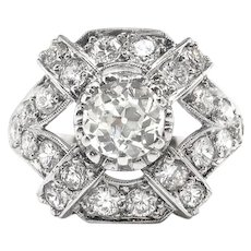 Art Deco Diamond Ring 1930's Vintage 1.81ct.tw. Old European Cut Cocktail Anniversary Ring Platinum