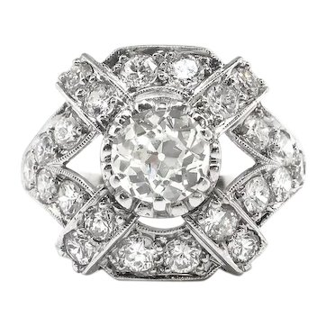 Art Deco Diamond Ring 1930's Vintage 1.81ct.tw. Old European Cut Cocktail Anniversary Ring Platinum
