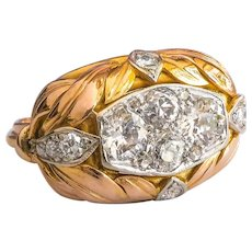 Retro Diamond Cluster Leaf Tri-color Gold Cocktail Statement Bombe Ring 14K