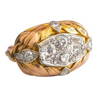 Retro Diamond Cluster Leaf Tricolor Gold Cocktail Statement Bombe Ring 14K