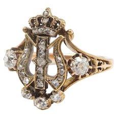 Antique Diamond Crown Ring Art Nouveau 1900's .67ct t.w. Old Mine Cut Rose Cut Diamond Austrian Royal Statement Ring 14k Yellow Gold