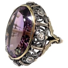 Huge Vintage Amethyst Diamond Ring Retro 1950's 22.75ct t.w. Old European Cut Scroll Filigree Cocktail Birthstone Statement Ring 18k Silver