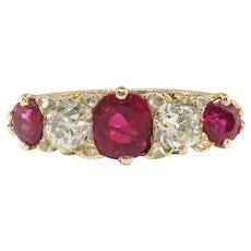 Antique Ruby Diamond Ring Edwardian 1920's 1.82ct t.w. Five Stone Ruby Old European Cut Half Hoop Filigree Band Ring 18K Yellow Gold