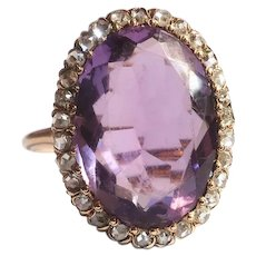 Antique Amethyst Diamond Ring Art Nouveau 1900's 6.84 ct t.w. Large Oval Rose De France Amethyst Rose Cut Diamond Halo Statement Ring 14k