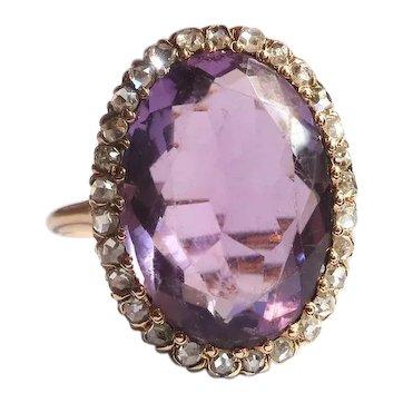 Antique Amethyst Diamond Ring Art Nouveau 1900's 6.84 ct t.w. Large Oval Rose De France Amethyst Rose Cut Diamond Halo Statement Ring 14k