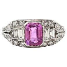 Vintage Sapphire Diamond Ring Retro 1940s 1.42ct t.w. Emerald Cut Sapphire Birthstone Antique Engagement Cocktail Ring Platinum
