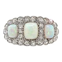 Antique Triple White Opal and Old European Cut Diamond Statement Halo Ring Platinum Over 14K