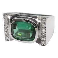 Estate Modern Cushion Cut 2.87ct t.w. Green Tourmaline Diamond Statement Cocktail Ring 18K White Gold