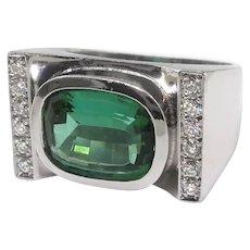 Estate Modern Cushion Cut 2.87ct t.w. Green Tourmaline Diamond Statement Cocktail Ring 18K White Gold