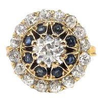 Antique Edwardian Diamond and Sapphire Double Halo Cocktail or Engagement Ring 18K Yellow Gold