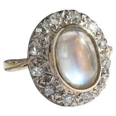 Vintage Oval Moonstone and Diamond Halo Ring 18K Yellow and White Gold