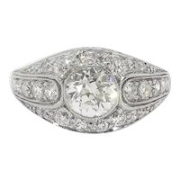 Art Deco Engagement Ring Vintage 1930's .96ct t.w. Old European Cut Diamond Wedding Anniversary Ring Platinum