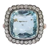 Art Deco Aquamarine Old European Cut Diamond Halo Birthstone Cocktail Statement Ring 14k Yellow Gold Silver Top