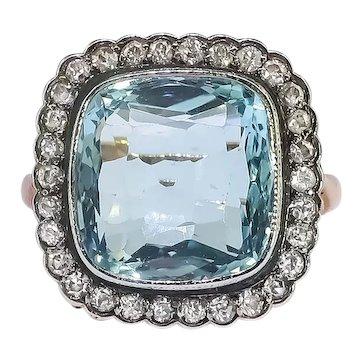Art Deco Aquamarine Old European Cut Diamond Halo Birthstone Cocktail Statement Ring 14k Yellow Gold Silver Top