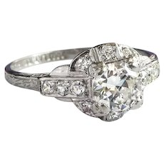 Art Deco 13 Diamond .73ct.tw. Engraved Engagement Ring Platinum