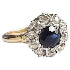 Antique Edwardian Dark Blue Sapphire and Diamond Halo Ring 14K and Platinum