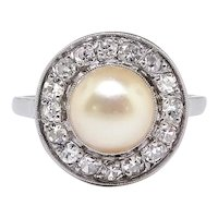 Edwardian Pearl Diamond Ring Antique Circa 1920's French .45ct t.w. Old Mine Cut Halo Engagement Ring Platinum