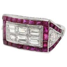 Art Deco 3.14ct t.w. Baguette Diamond & Natural Ruby Cocktail Statement Ring Platinum