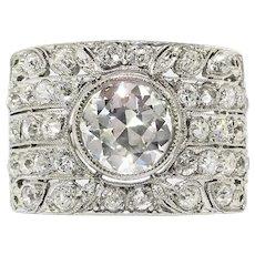 Art Deco Platinum 2.54ctw. Diamond Cocktail Engagement Ring Platinum
