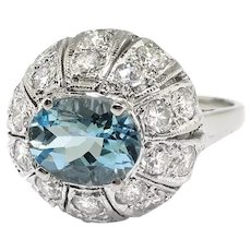 Vintage 2.10ct t.w. Aquamarine Diamond Cocktail Engagement Ring 14K White Gold