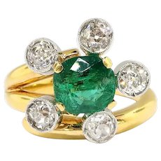 Antique Edwardian Emerald Diamond Bypass Statement Ring 18K Platinum