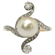 Antique Edwardian Cultured Pearl and Diamond Bypass Ring 14K Platinum