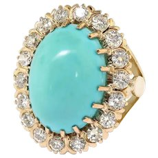 Large Vintage Mid-Century Oval Robin's Eggs Blue Turquoise and Diamond Halo Cocktail Statement Ring 18K