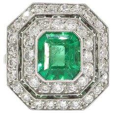 Vintage 2.79ct.tw. Emerald Cut Emerald Double Halo Diamond Ring Platinum