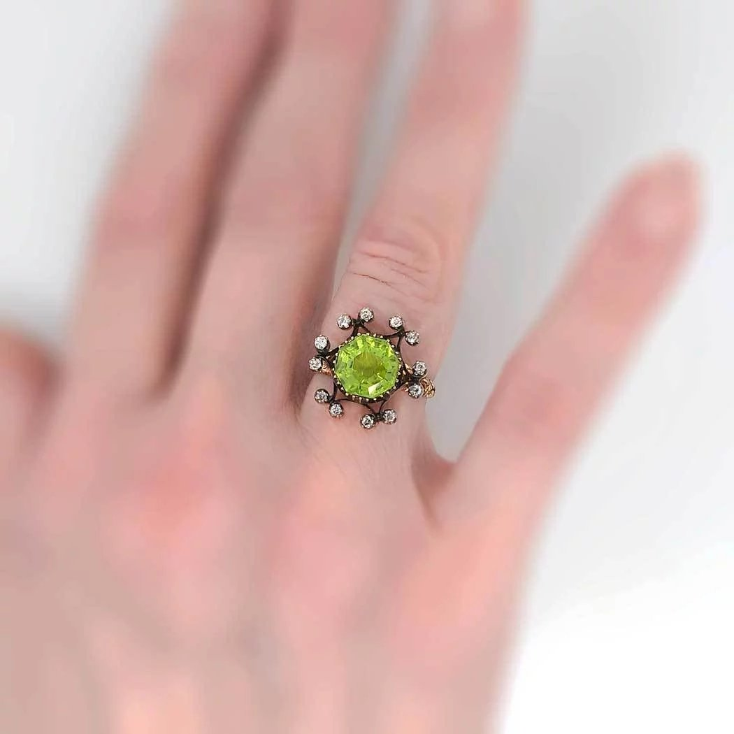 Incredible Victorian Peridot & Diamond Ring 15k/SS : Jewelry Finds ...