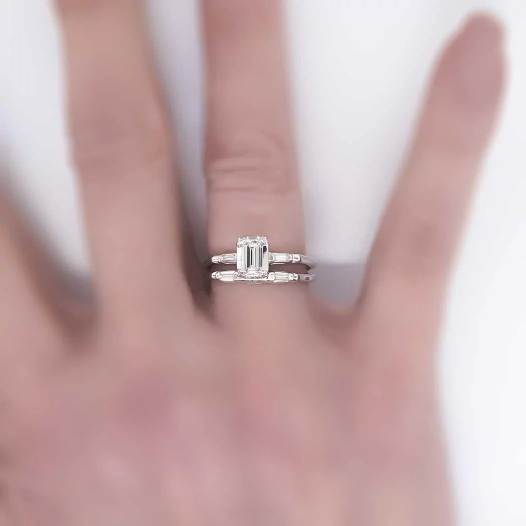 Beautiful .60ct t.w. Emerald Cut Diamond Wedding Engagement Ring ...