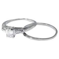 Vintage Engagement Wedding Set .59ct. t.w. Emerald Cut Diamond and Baguette Engagement Ring Wedding Band Set Platinum