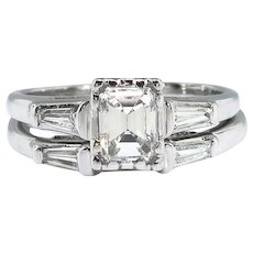 Vintage Emerald Cut Wedding Set .66ct. t.w. Diamond and Baguette Engagement Ring Wedding Band 14k White Gold