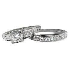 Art Deco Diamond Wedding Ring Set .71ct t.w. Old European Single Cut Engagement Ring Bridal Set Band 18k White Gold