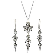 Antique Diamond Earrings Pendant Set 2.53ct t.w. Old Mine Cut Demi-Parure Gift 14k Sterling Silver
