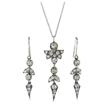 Antique Diamond Earrings Pendant Set 2.53ct t.w. Old Mine Cut Demi-Parure Gift 14k Sterling Silver