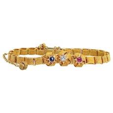 "Antique Bracelet Victorian 1890's Old Mine Cut Diamond Blue Sapphire Ruby Knot 14k Yellow Gold Bracelet 6.25"" Inches"