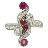 Antique Edwardian Vintage Ruby Old European Cut Diamond Anniversary Cocktail Ring 18k Platinum