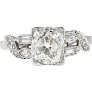Vintage Retro Estate 1940's Old European Cushion Cut Diamond Platinum Engagement Bridal Wedding Ring