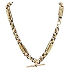 Antique 9k Gold Chain Necklace Pocket Watch Albert Victorian Period Trombone style
